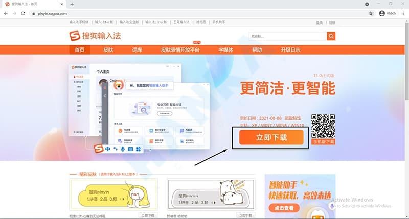 cài đặt bộ gõ tiếng trung Sogou Pinyin trên máy tính Win 10 bước 1