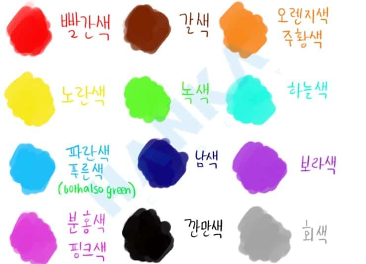 từ vựng tiếng hàn về màu sắc